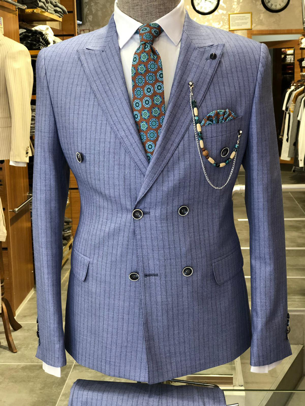 Blue Striped Slim Fit Suit by GentWith.com with Free Shipping