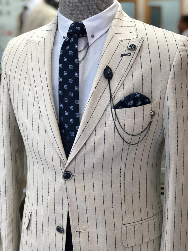 Ecru Slim Fit Striped Suit by GentWith.com with Free Shipping