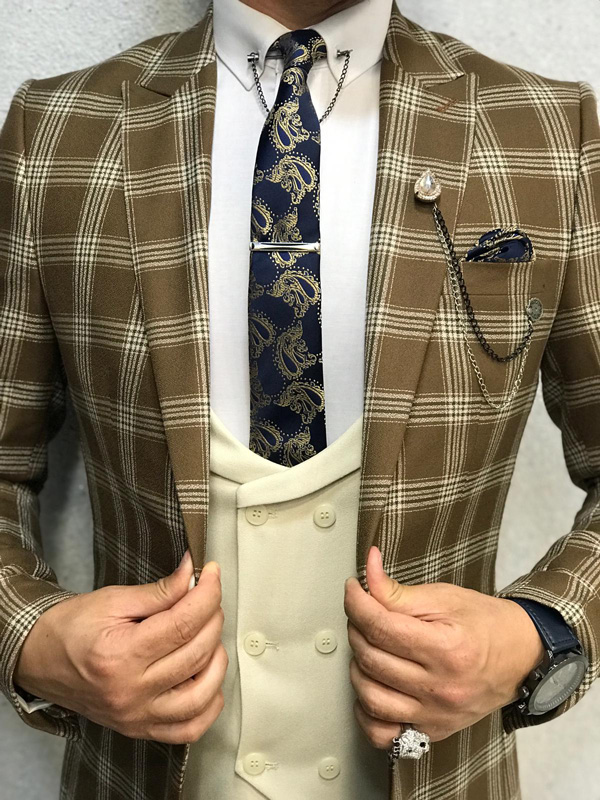 Coffee Slim Fit Plaid Suit by GentWith.com with Free Shipping