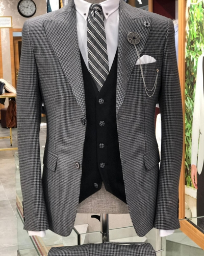 Black Slim Fit Patterned Suit by GentWith.com with Free Shipping
