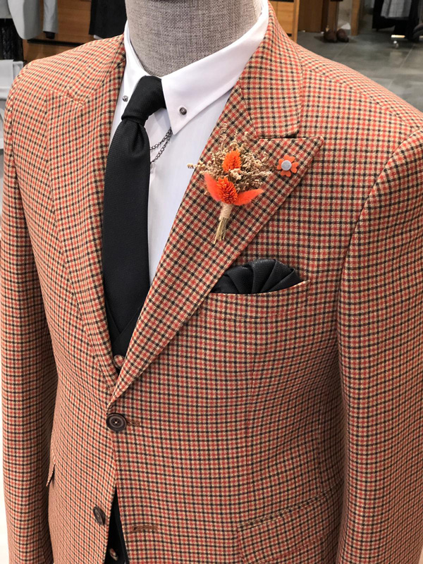 Brown Slim Fit Patterned Suit by GentWith.com with Free Shipping