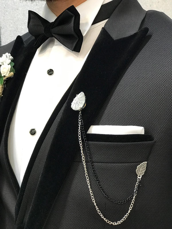 Black Velvet Collar Slim Fit Tuxedo by GentWith.com | Free Shipping