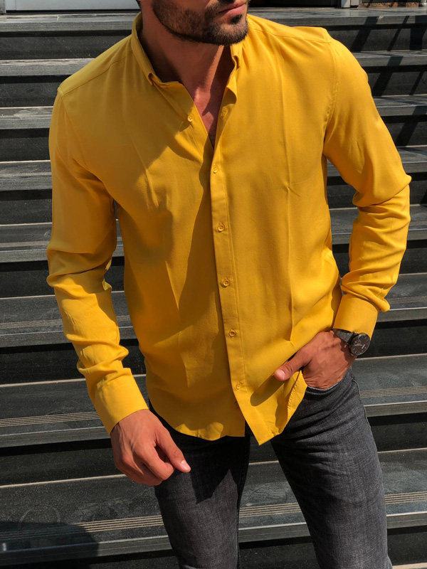 Yellow Slim Fit Shirt by GentWith.com with Free Shipping