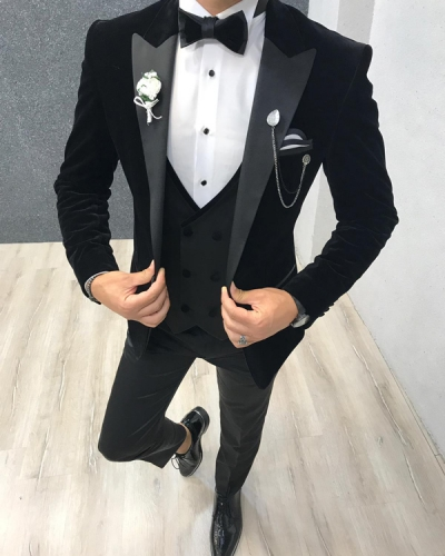 Black Slim Fit Velvet Tuxedo by GentWith.com with Free Shipping