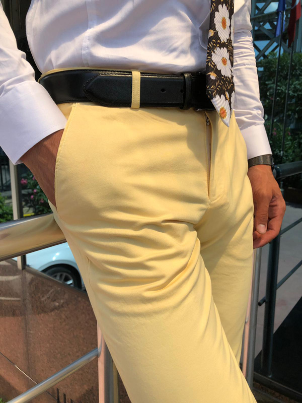 Yellow Slim Fit Dress Pants by GentWith.com with Free Shipping