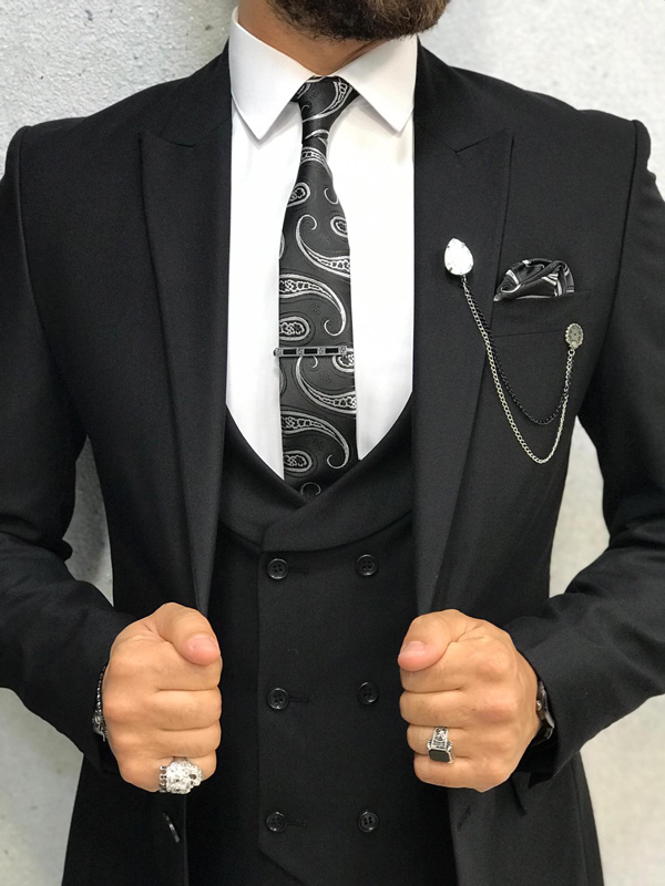 Black Slim Fit Wool Suit by GentWith.com with Free Shipping
