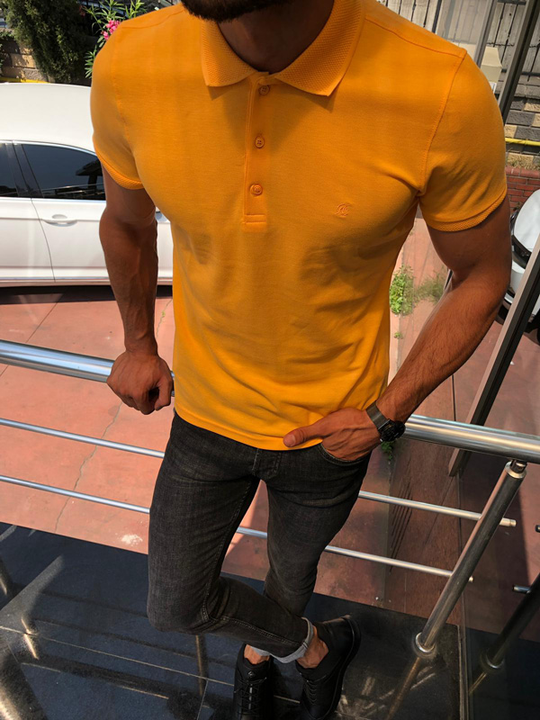 Yellow Slim Fit Polo Shirt by GentWith.com with Free Shipping