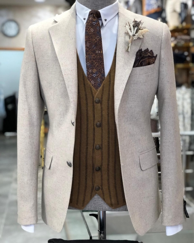 Beige Slim Fit Wool Suit by GentWith.com with Free Shipping