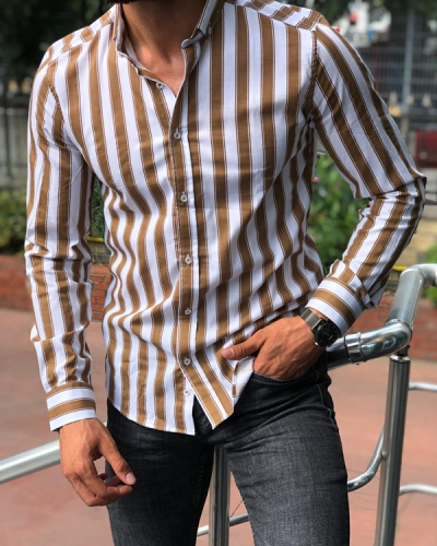 Beige Slim Fit Striped Shirt by GentWith.com with Free Shipping