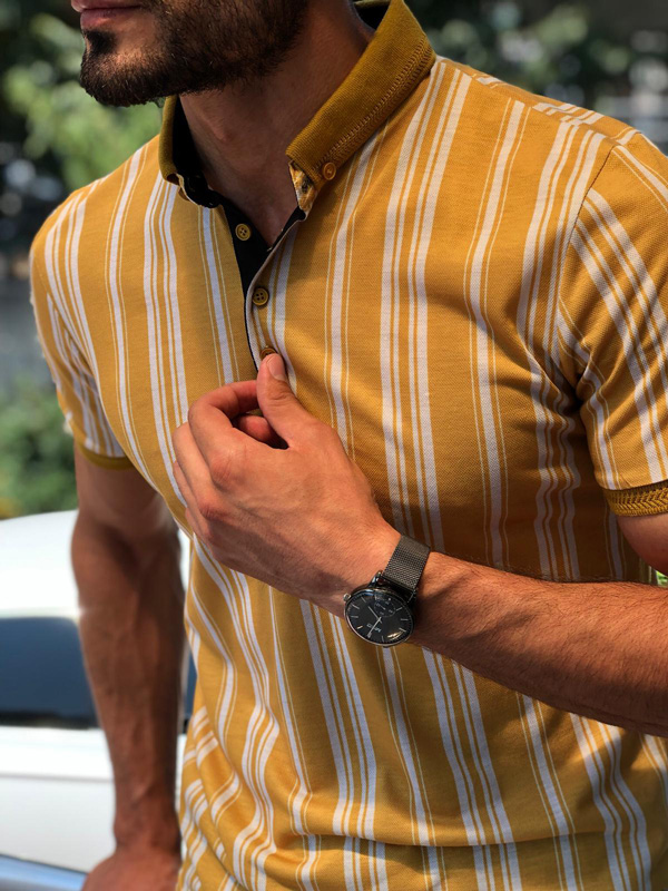 Yellow Slim Fit Striped Polo Shirt by GentWith.com with Free Shipping