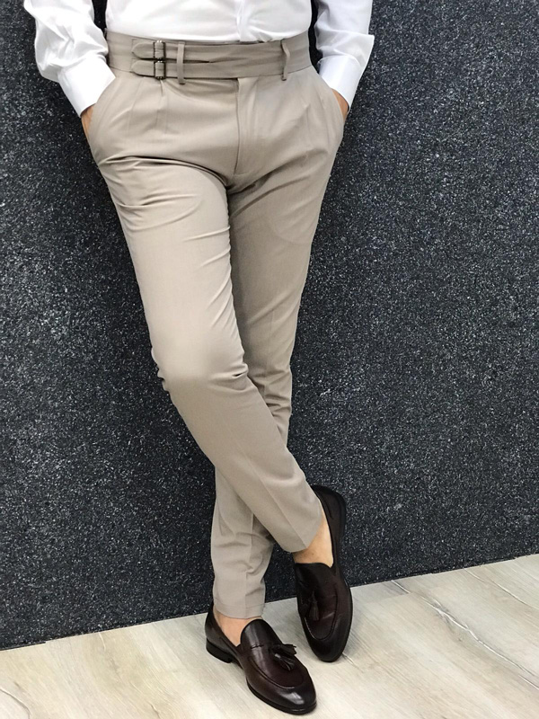 Beige Slim Fit Dress Pants by GentWith.com with Free Shipping