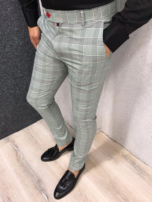 Green Slim Fit Plaid Pants by GentWith.com with Free Shipping