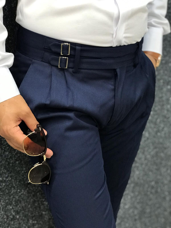 Navy Blue Slim Fit Dress Pants by GentWith.com with Free Shipping