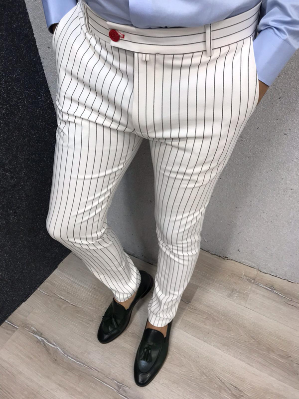 White Slim Fit Striped Pants by GentWith.com with Free Shipping