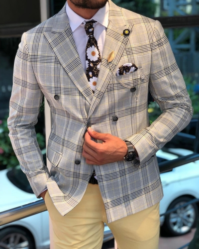 Yellow Slim Fit Plaid Blazer by GentWith.com with Free Shipping