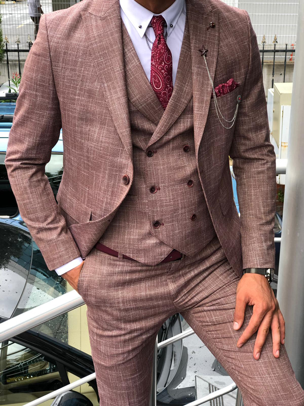 Claret Red Slim Fit Patterned Suit by GentWith.com | Free Shipping