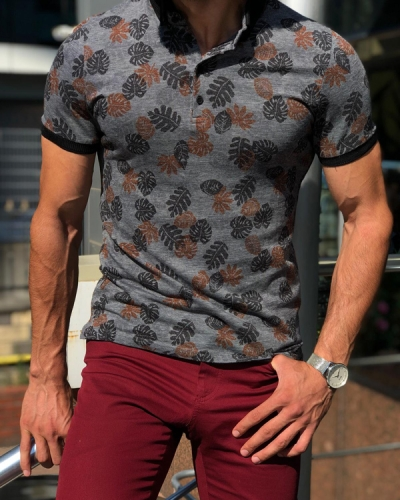 Black Slim Fit Floral Polo Shirt by GentWith.com with Free Shipping