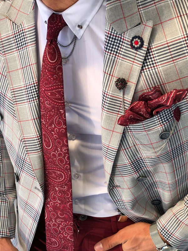 Claret Red Slim Fit Plaid Blazer by GentWith.com with Free Shipping