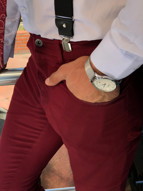 Claret Red Slim Fit Cotton Pants by GentWith.com with Free Shipping