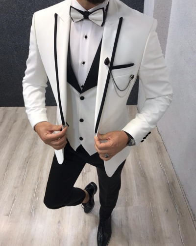 Marina White SlimFit Tuxedo by GentWith.com with Free Shipping