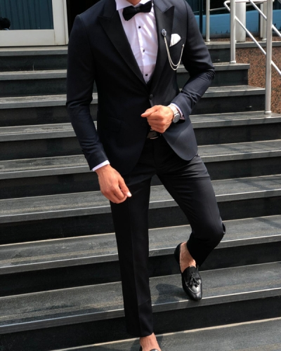 Dark Blue Slim Fit Tuxedo by GentWith.com | Free Shipping
