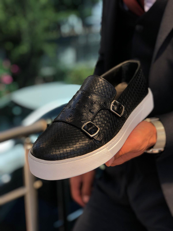 Black Monk Strap Sneakers by GentWith.com with Free Shipping