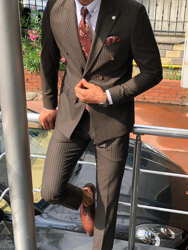 hot product entire collection sale online Buy Brown Slim Fit Pinstripe Suit by GentWith.com with Free Shipping