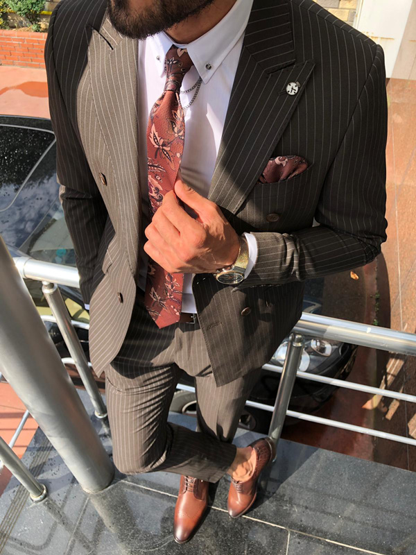 Brown Slim Fit Pinstripe Suit by GentWith.com with Free Shipping