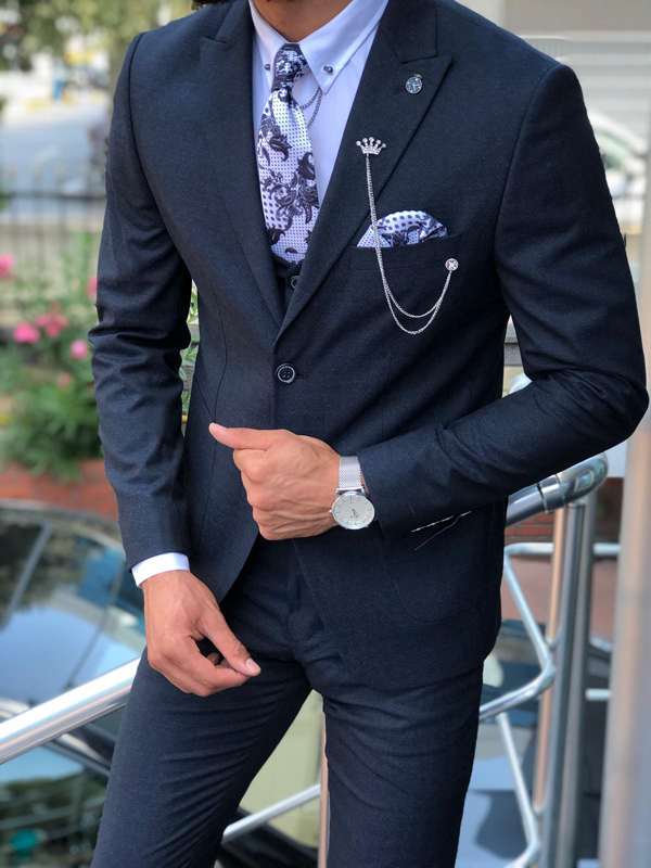 Dark Blue Slim Fit Patterned Suit by GentWith.com