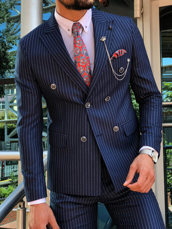 Navy Blue Slim Fit Pinstripe Suit by GentWith.com