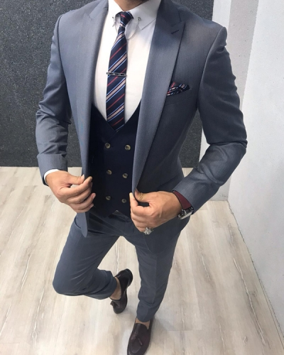 Blue Slim Fit Wool Suit by GentWith.com with Free Shipping