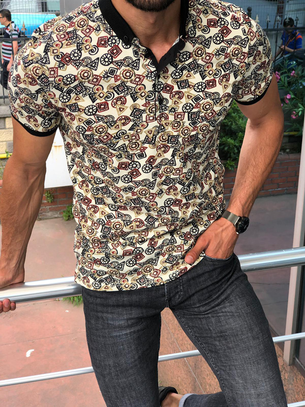 Beige Slim Fit Patterned Polo Shirt by GentWith.com   Free Shipping