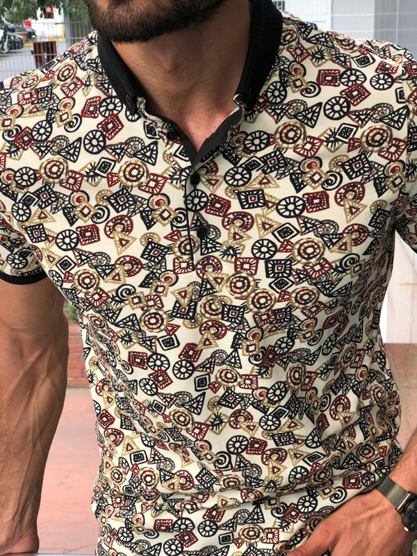 Beige Slim Fit Patterned Polo Shirt by GentWith.com | Free Shipping