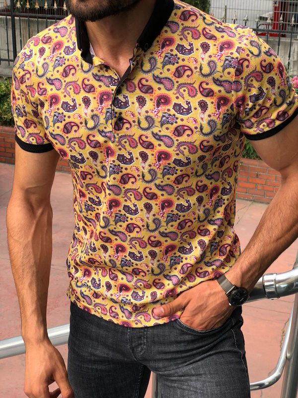 Yellow Slim Fit Patterned Polo Shirt by GentWith.com | Free Shipping