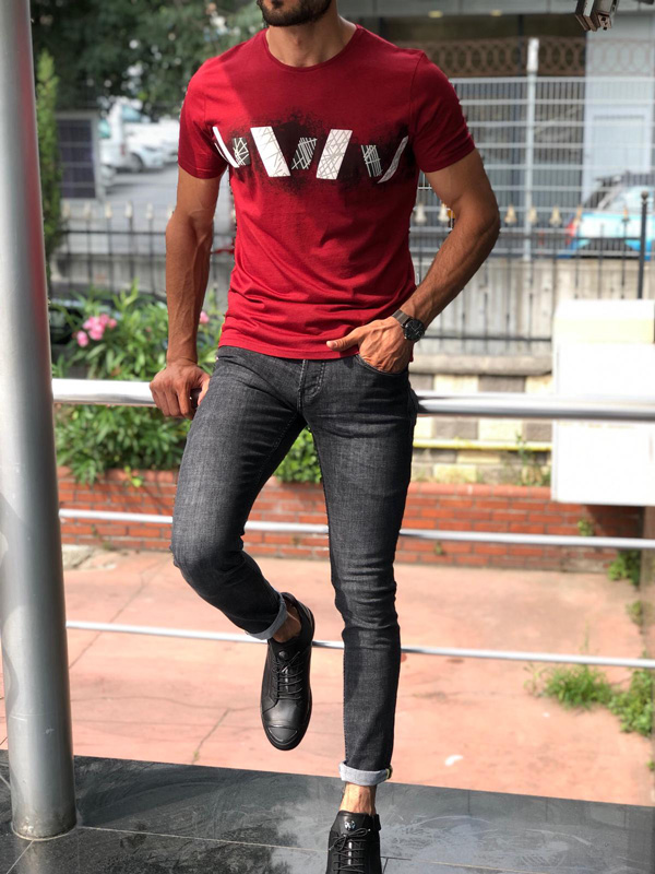 Red Slim Fit Round Neck Printed T-Shirt by GentWith.com