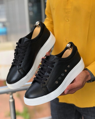 Black Laced Leather Sneakers by GentWith.com with Free Shipping