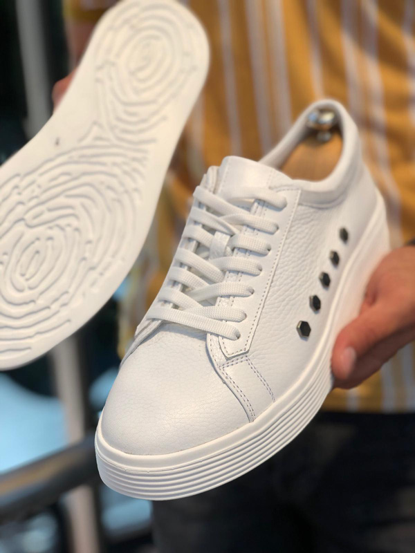 White Laced Leather Sneakers by GentWith.com with Free Shipping