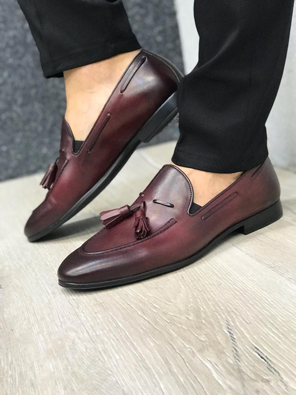 Claret Red Tassel Suede Loafer by GentWith.com with Free Shipping