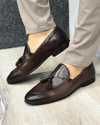 Coffee Tassel Suede Loafer by GentWith.com with Free Shipping