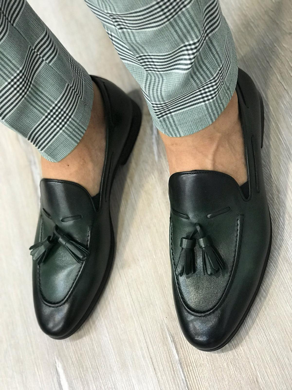 Green Tassel Loafer by GentWith.com with Free Shipping