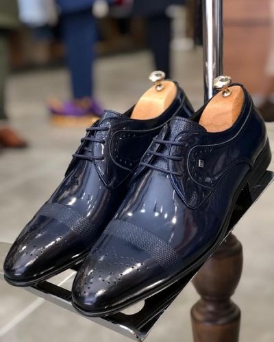 Navy Blue Classic Laced Oxford by GentWith.com with Free Shipping