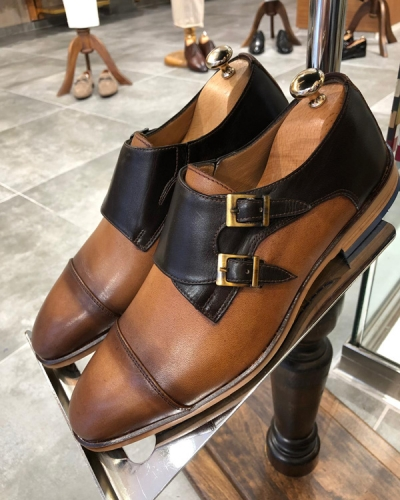 Brown Double Monk Strap by GentWith.com with Free Shipping