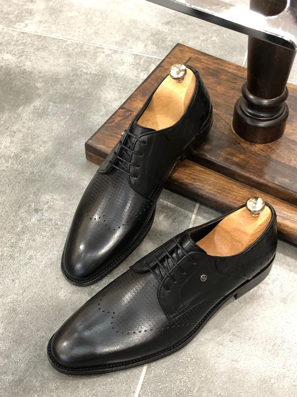 Black Classic Laced Oxford by GentWith.com with Free Shipping