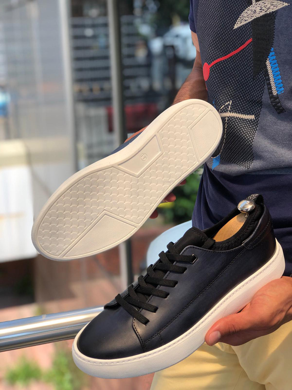 Navy Blue Laced Leather Sneakers by GentWith.com | Free Shipping