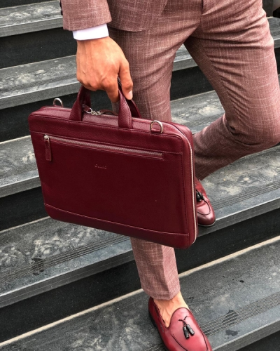Claret Red Leather Briefcase by GentWith.com with Free Shipping