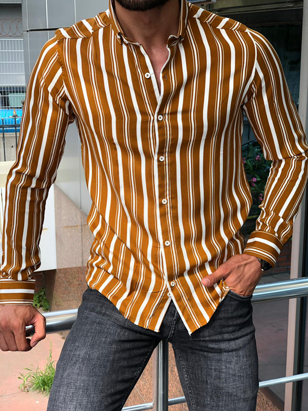 Camel Slim Fit Striped Shirt by GentWith.com with Free Shipping