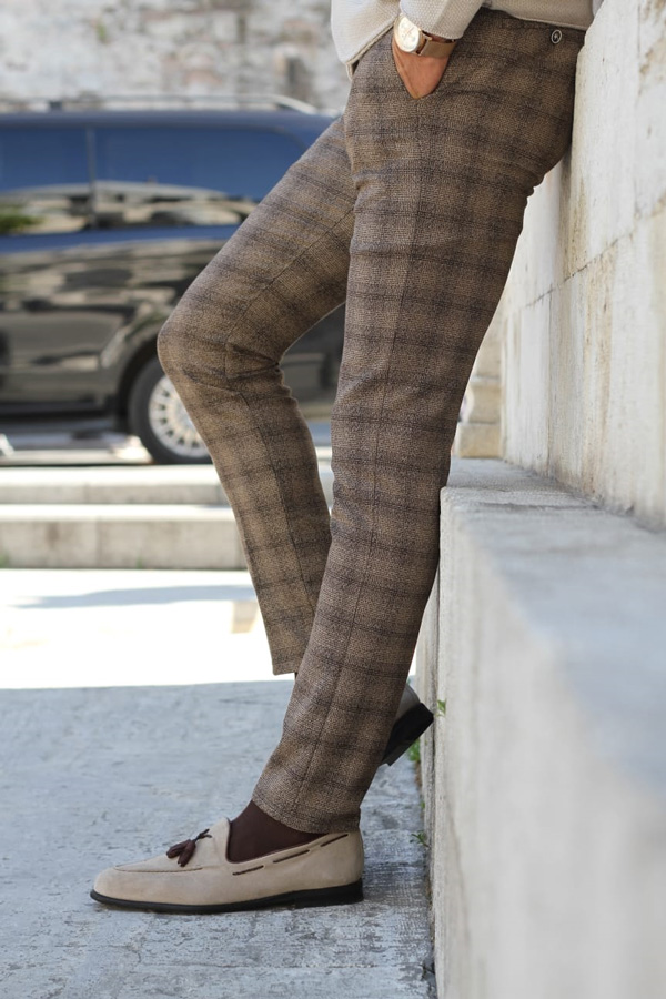 Brown Slim Fit Check Pants by GentWith.com with Free Shipping