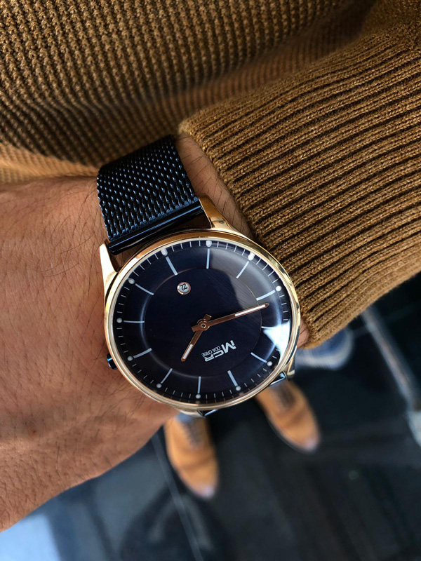 Navy Blue Round Wrist Watch by GentWith.com with Free Shipping