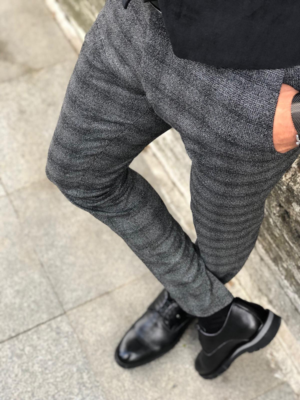 Black Slim Fit Plaid Pants by GentWith.com with Free Shipping