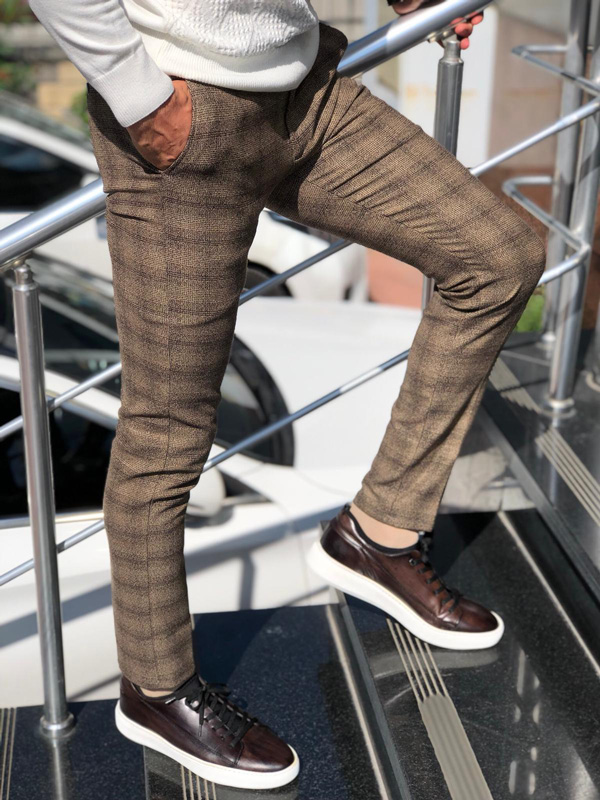 Brown Slim Fit Plaid Pants by GentWith.com with Free Shipping